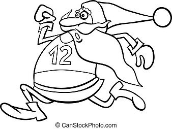 running santa cartoon coloring page - Black and White...