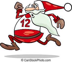 running santa claus cartoon illustration - Cartoon...