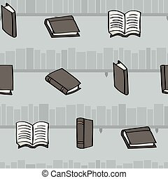 Cartoon books and bookshelves seaml - Seamless background...