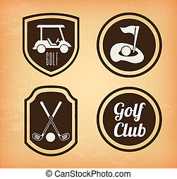 golf icons over beige  background vector illustration