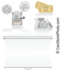 set cinema icons vector illustration