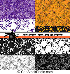 Spider web seamless patterns - Collection of spider web...