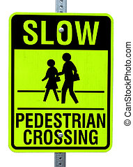 A newer style neon pedestrian crossing sign of a Man helping...