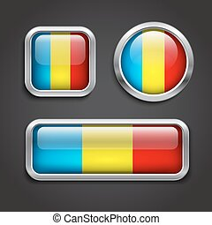 Romania flag glass buttons