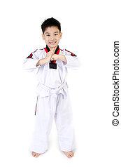Taekwondo, acción, asiático, lindo,...