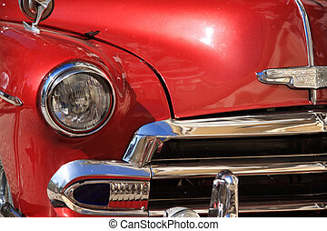 Close up of a red Chevrolet in Havana Cuba