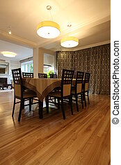 Lighted dining room - Elegant dining room with two...