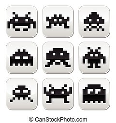 Space invaders, 8bit aliens buttons - Vector grey square...