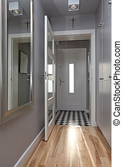 Stylish corridor - Bright corridor with open door in modern...