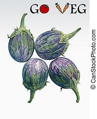 Brinjals, Eggplant, Solanum melongeana L, Go Veg, Concept