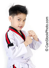 Taekwondo action by a asian cute boy - Taekwondo action by...