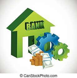 bank and gears illustration design over a white background