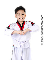 Taekwondo action by a asian cute boy, isolate on white...