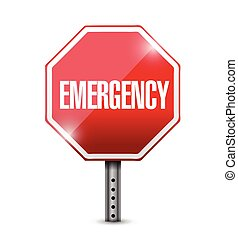 emergency stop sign illustration design