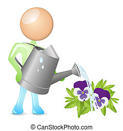 watering humanoid - humanoid watering flowers with a...