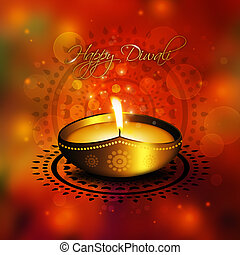 oil lamp with diwali diya greetings over colorful background