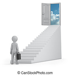 businessman and door to heaven