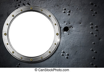 Metal Porthole on Grunge Background - Metallic porthole with...