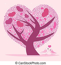Valentine tree for your design, Pink heart shape leaves.