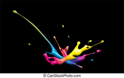 splash - abstract illustration of a colorful ink splash