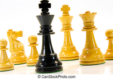 Chess - illustration of wooden chess figures with king in...