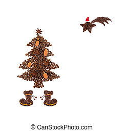Coffee Christmas - Christmas symbol made from coffee beans.
