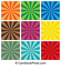set of Sun Sunburst retro Pattern - Vector illustration of...