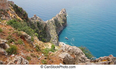 bay in mediterranean sea - view from fortress Alanya Turkey