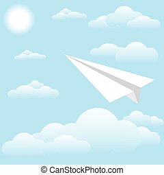 Paper plane at sky, sun and cloud - Vector illustration of...