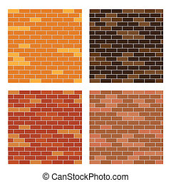brick wall background set - vector illustration of brick...