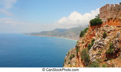 panorama of mediterranean sea - view from fortress Alanya...