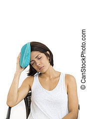 Headache - Terrible Headache, Beautiful Woman, Isolated on...