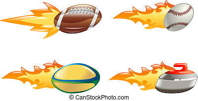 Shiny glossy flame sport icons