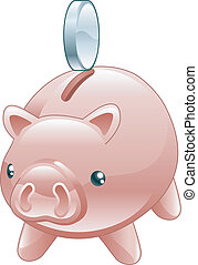 Savings Cute shiny piggy bank - An illustration of a cute...