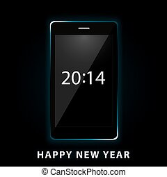 happy new year phone - Vector illustration of happy new year...