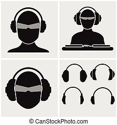 Set of Music Icons with Headphones - Set of icons with...