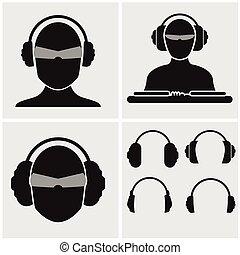 Conjunto, Música, auriculares, iconos