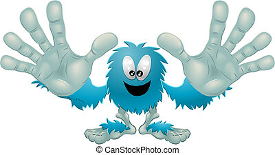 Cute friendly furry blue monster - Illustration of a cute...