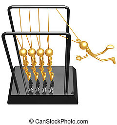 Employee Newton\'s Cradle - 3D Concept And Presentation...