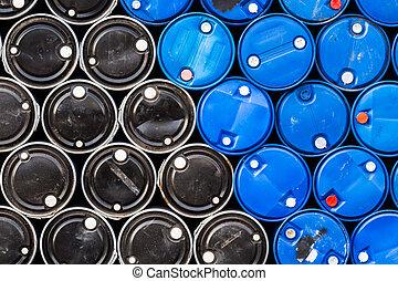 negro, azul, aceite, barriles