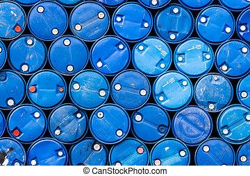 azul, aceite, barriles