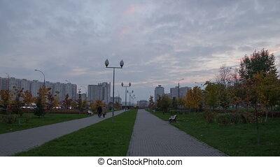 Boulevard walk sunset hyperlapse - Pererva street in Moscow