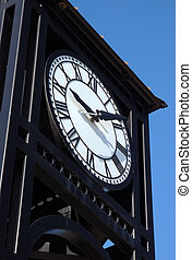 Town Clock - Small town mainstreet town clock in square