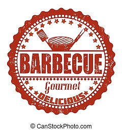 Barbecue stamp - Barbecue grunge rubber stamp on white,...