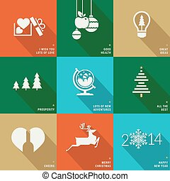 Set of icons for Christmas - Set of icons, banners and cards...