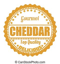 Cheddar stamp - Cheddar grunge rubber stamp on white, vector...