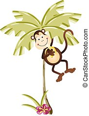 Monkey eating banana in palm tree - Scalable vectorial image...