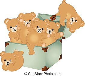Trunk Baby Teddy Bears - Scalable vectorial image...