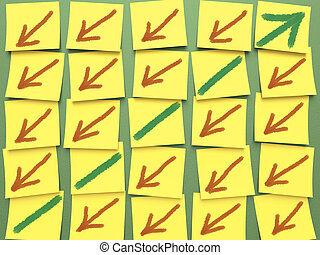 Post-It Chart - Information board with arrows showing growth...