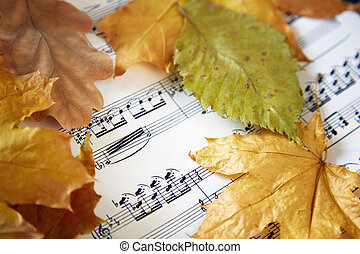 Autumn nocturne - Music sheet with autumn leaves. Close-up...